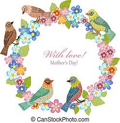 grinalda, seu, desenho, convite, floral, pássaros, cartão