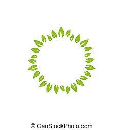 grinalda, texto, fresco, floral, ou, caixa, verde, label., leaves., redondo
