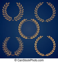 grinaldas, dourado, jogo, vetorial, laurel