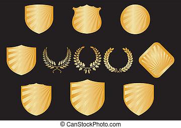 grinaldas, escudos, cobrança