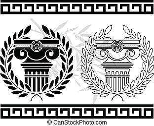 Grinaldas, estêncil, colunas,  Ionic