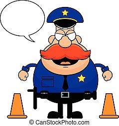 grincheux, dessin animé, policier