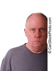 grincheux, homme, expression, chauve, plus vieux