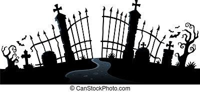 grind, tema, 2, silhuett, kyrkogård