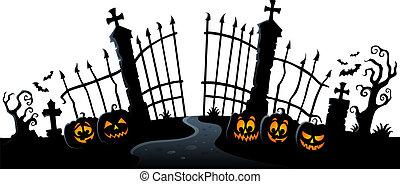 grind, tema, silhuett, 3, kyrkogård