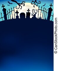 grind, tema, silhuett, 7, kyrkogård
