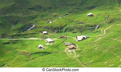 Isolated house in the slopes of the Swiss Alps. Grindelwald First.