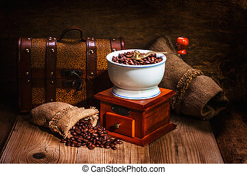 grinder and other accessories for the coffee
