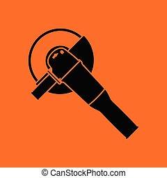 Grinder icon. Orange background with black. Vector...