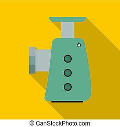 grinder, stijl, pictogram, elektrisch, plat
