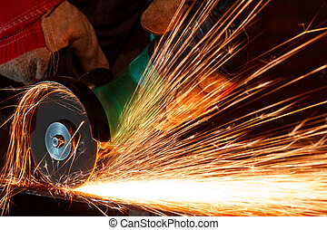 Grinding iron with sparks