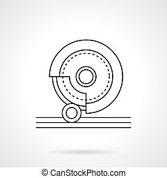 Grinding stone flat line vector icon - Metal processing...