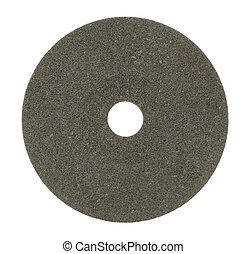 Grinding wheel - a dark grinding wheel in white back