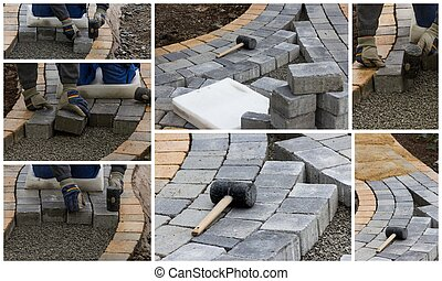 Grinding with angle grinder - Collage paving work