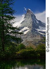 grindjisee, zermatt, alpes, suisse, emplacement, lac, matin, valais, suisse, pic, canton, été, matterhorn, toile de fond, europe.