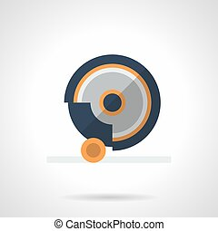 Grindstone disk flat color vector icon - Symbol of...