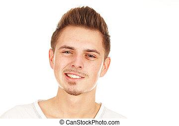 Grining youg man on a white background