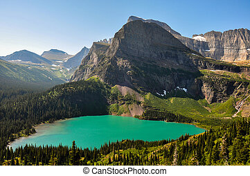 grinnel, glaciar, nacional, lago, parque, rastro, viajando arduamente, montana