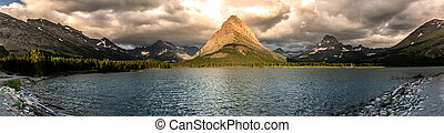 Grinnell Point Lit By Sun Panorama - Grinnell Point Lit By...