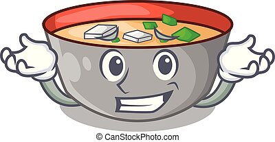 Grinning asian soup cup isolated on mascot