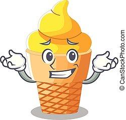 Grinning banana ice cream isolated on mascot