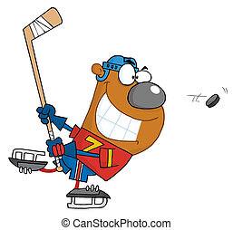 Bear Playing Ice Hockey