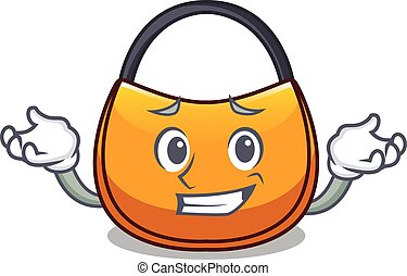 Grinning beautifully hobo bag on character funny vector...
