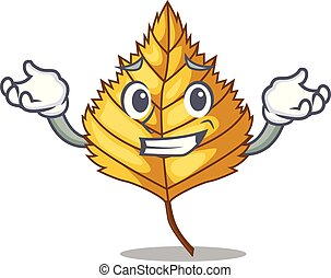 Grinning birch leaf isolated in the character vector...