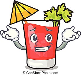 Grinning bloody mary character cartoon vector illustration