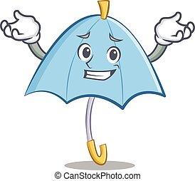 Grinning blue umbrella character cartoon