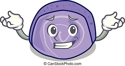 Grinning blueberry roll cake character cartoon