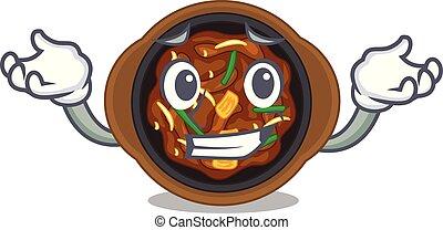 Grinning bulgogi in a the bowl cartoon