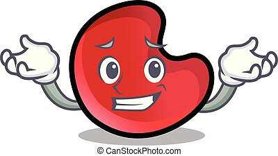 Grinning candy moon character cartoon vector illustration