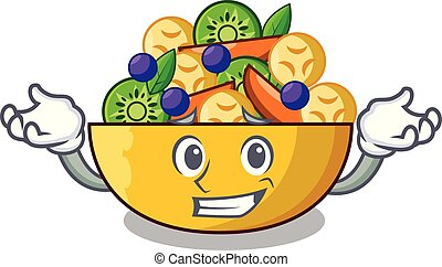 Grinning cartoon bowl healthy fresh fruit salad