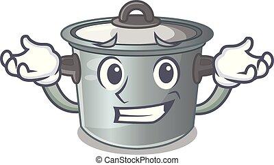 Grinning cartoon cookware stock pot in kitchen vector...