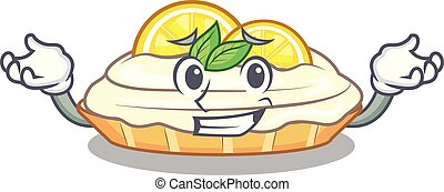 Grinning cartoon lemon cake with lemon slice