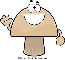 Grinning Cartoon Mushroom