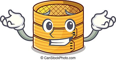 Grinning cartoon traditional bamboo for steamed food