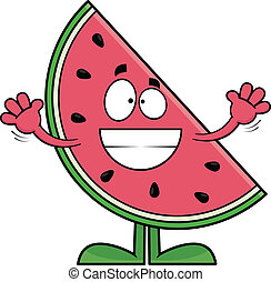 Grinning Cartoon Watermelon