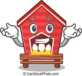 Grinning chicken coop in the cartoon shape