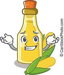 Grinning corn oil put into cartoon bottle