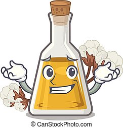 Grinning cottonseed oil isolated in the character vector ...
