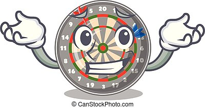 Grinning dartboard in the shape of mascot