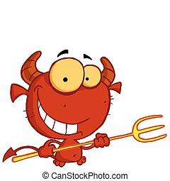 grinning, djævel, eyed, gul, rød