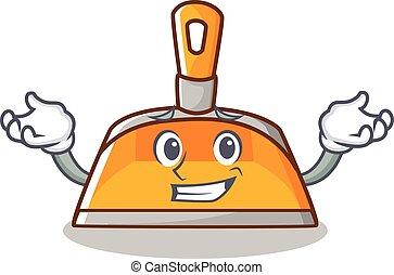 Grinning dustpan character cartoon style vector illustration