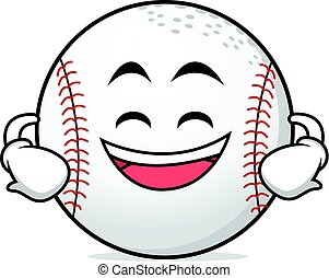 Grinning face baseball cartoon character