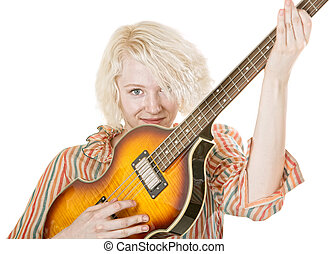 Grinning Female Guitarist