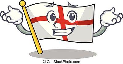 Grinning flag england with the cartoon shape vector ...
