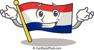 Grinning flag netherlands with the mascot shape vector ...