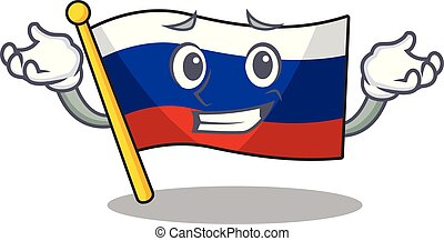 Grinning flag russian stored in cartoon cupboard
